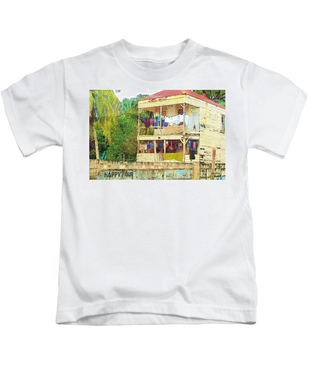 Belize Kids T-Shirt featuring the digital art Happy Hour Washday Belize by Rebecca Korpita