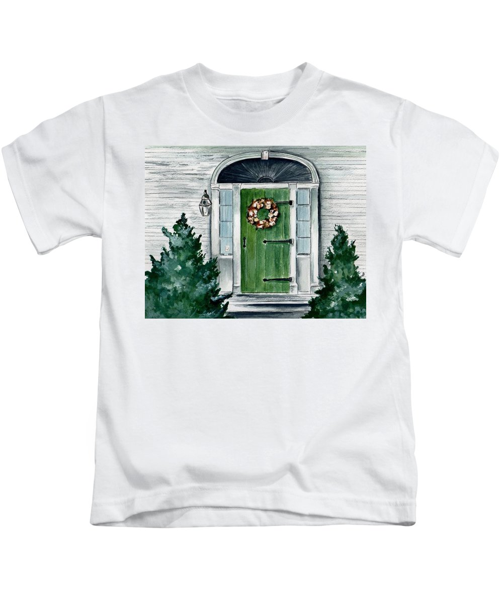 Watercolor Kids T-Shirt featuring the painting Heads Corner Farm Denmark Maine by Brenda Owen