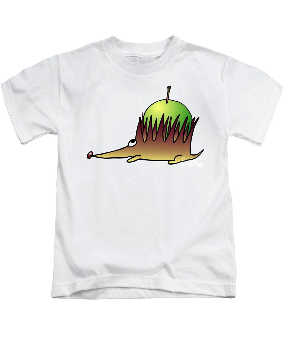 Hedgehog Kids T-Shirt featuring the drawing Hedgehog With Apple by Michal Boubin