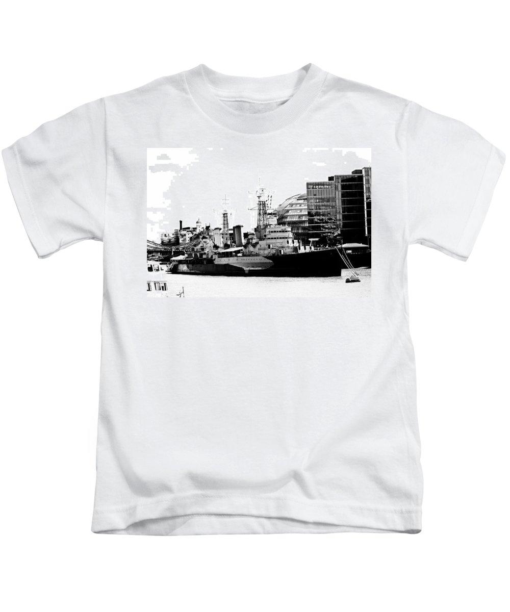 Hms Belfast Kids T-Shirt featuring the photograph Hms Belfast by Dawn OConnor