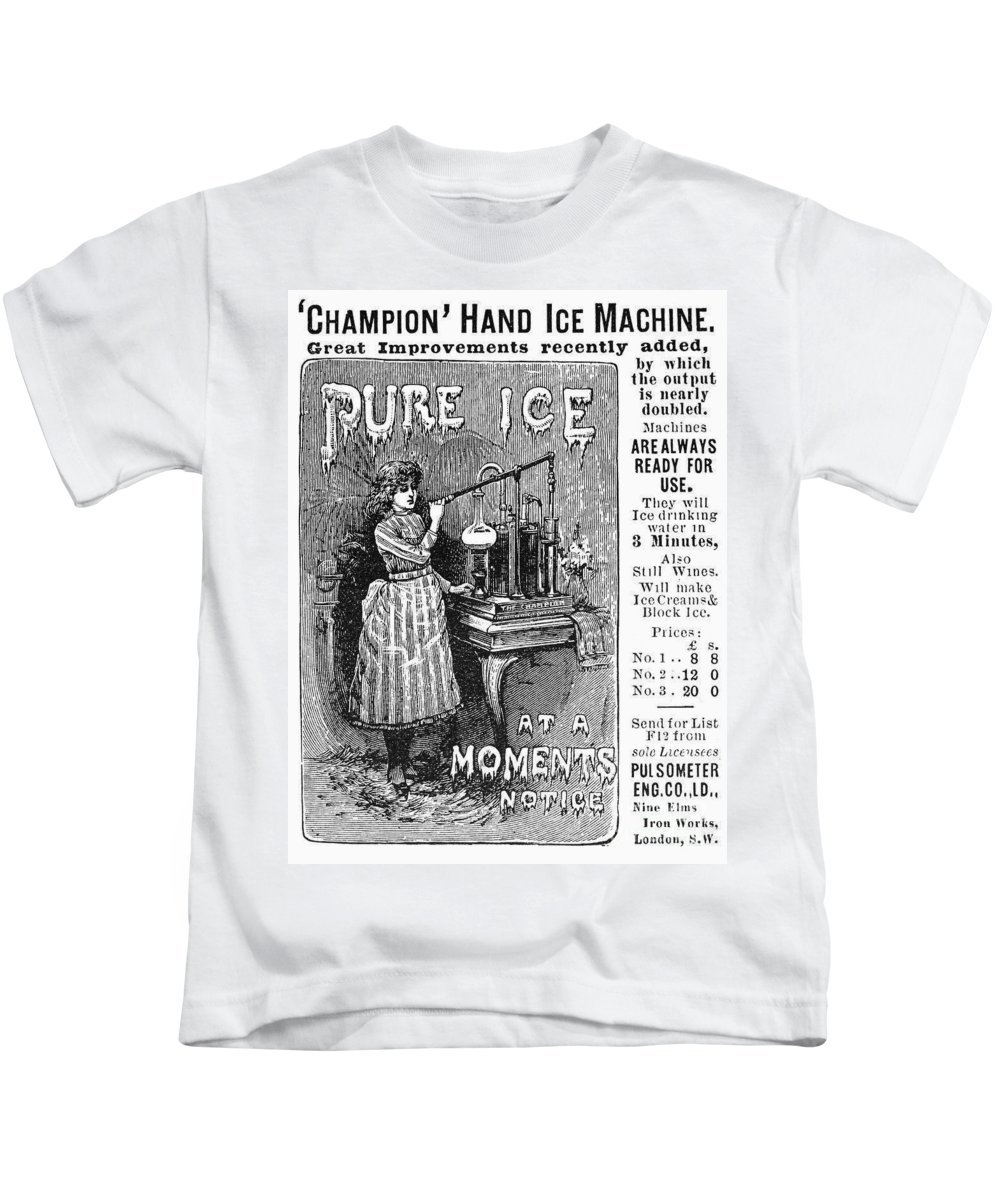 1891 Kids T-Shirt featuring the photograph Ice Machine, 1891 by Granger