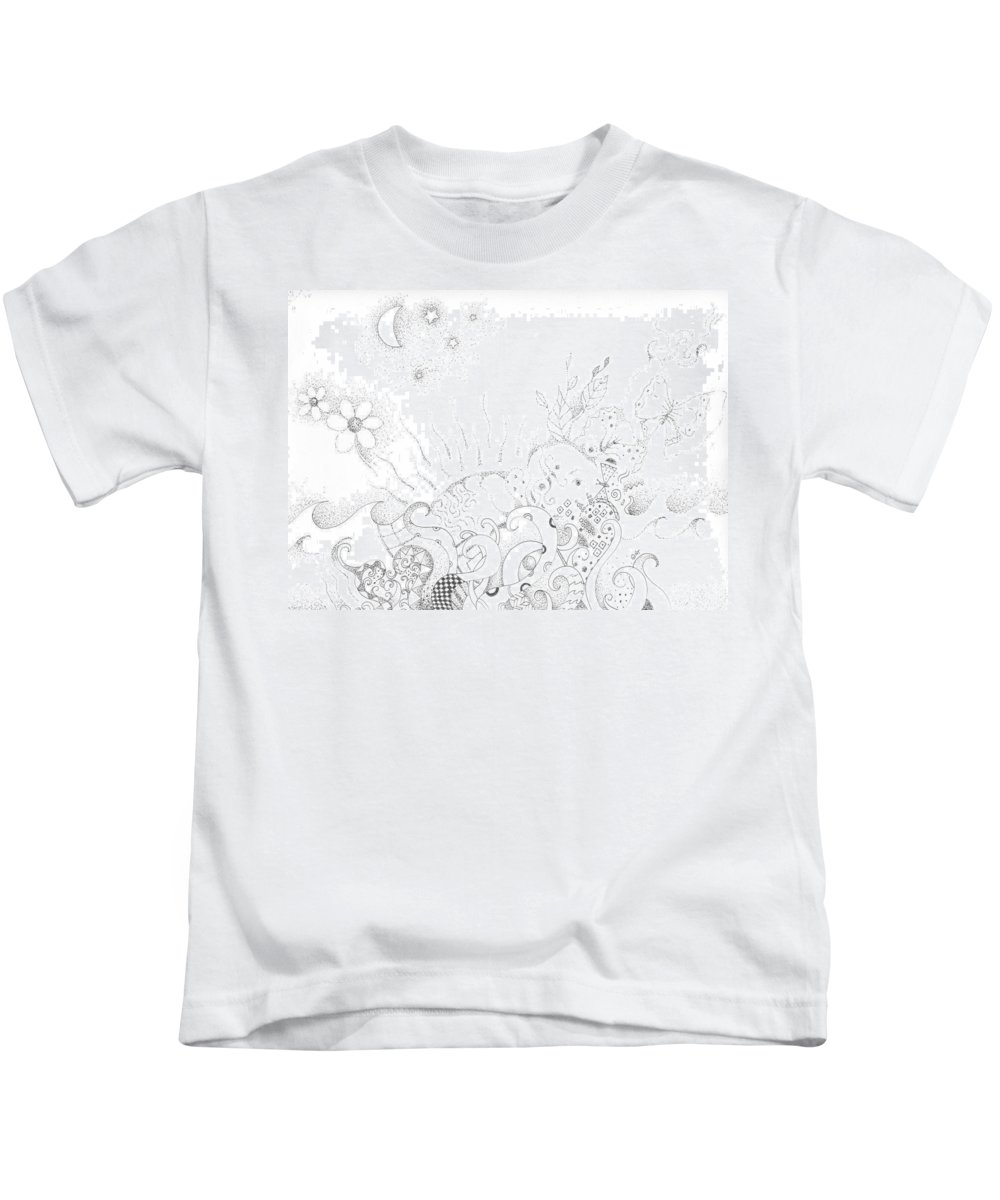 Earth Kids T-Shirt featuring the drawing In A World Of Wonder by Helena Tiainen