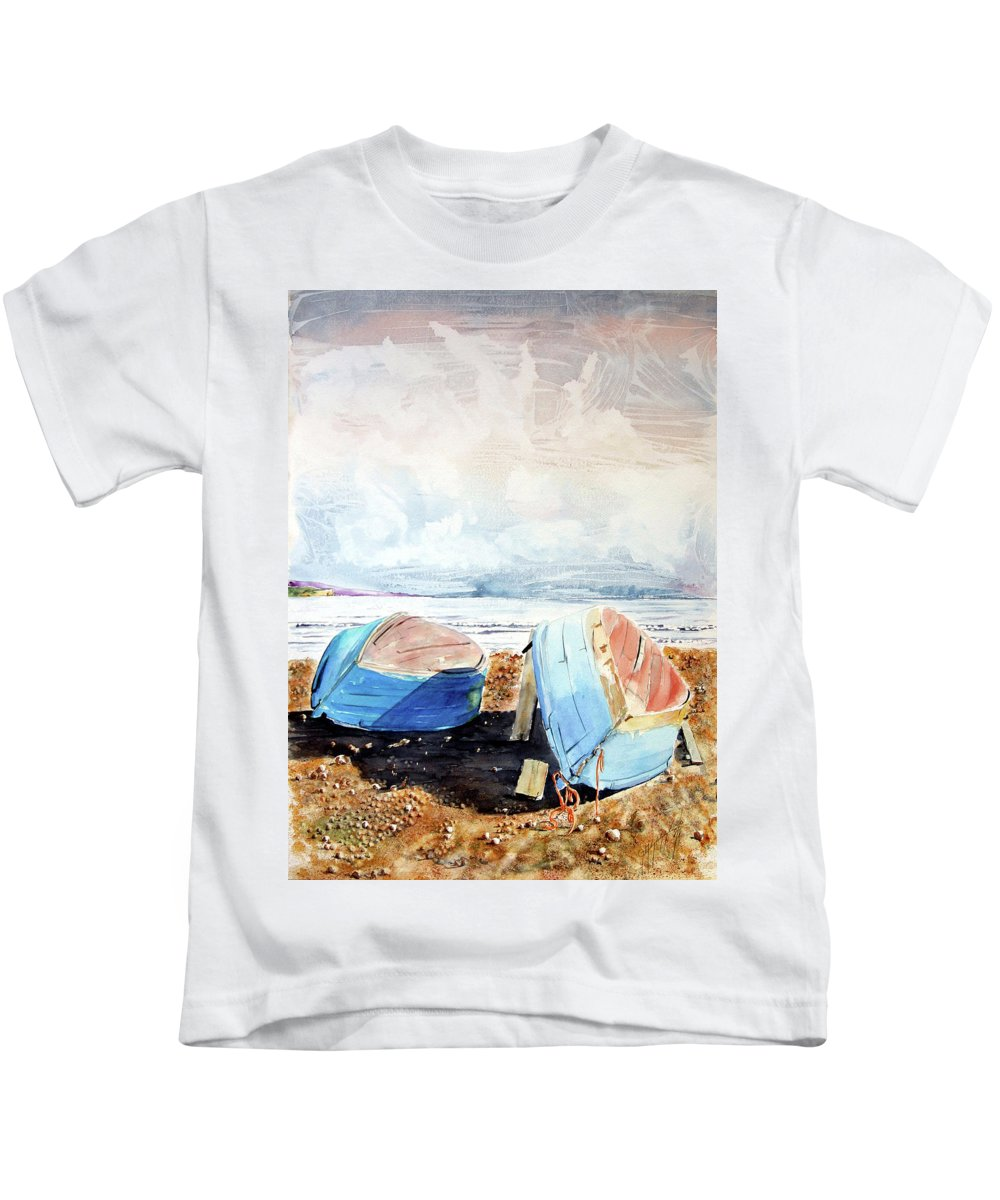 Watercolor Kids T-Shirt featuring the painting In Secca Sulla Spiaggia by Giovanni Marco Sassu