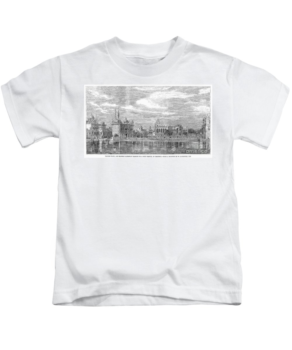 1858 Kids T-Shirt featuring the photograph India: Golden Temple, 1858 by Granger