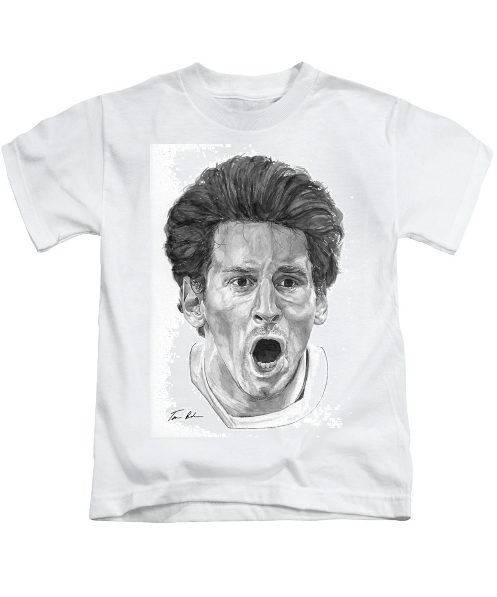 Soccer Kids T-Shirt featuring the painting Intensity Lionel Messi by Tamir Barkan