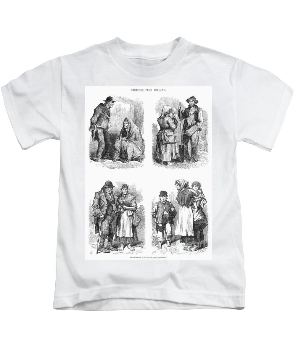 1870 Kids T-Shirt featuring the photograph Ireland: Tenant Farmers by Granger