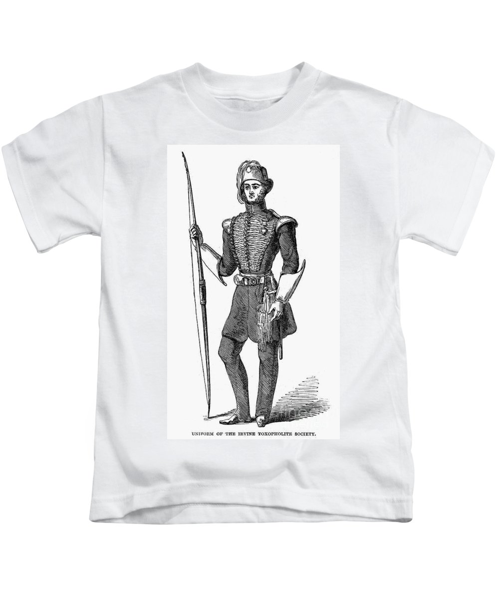 1846 Kids T-Shirt featuring the photograph Irvine Toxophilite, 1846 by Granger