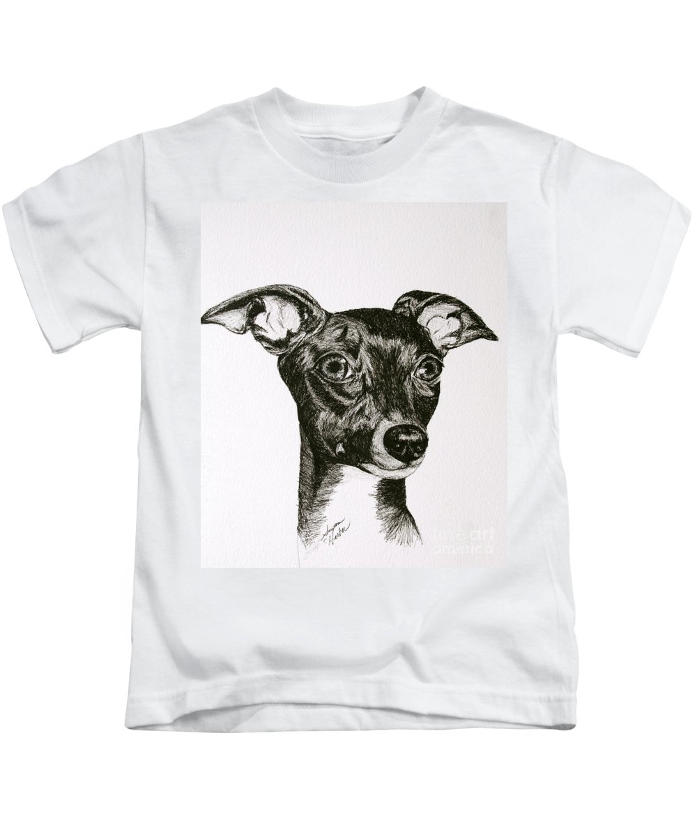 Ig Kids T-Shirt featuring the drawing Italian Greyhound by Susan Herber