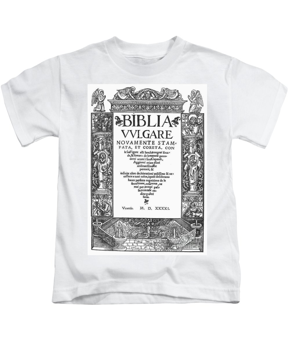 1541 Kids T-Shirt featuring the photograph Italian Vulgate, 1541 by Granger