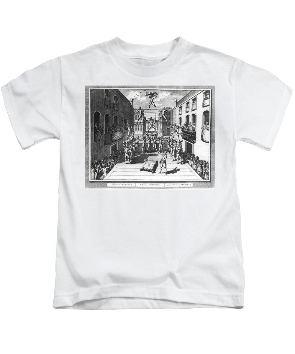 1722 Kids T-Shirt featuring the photograph Italy: Acrobats, C1722 by Granger
