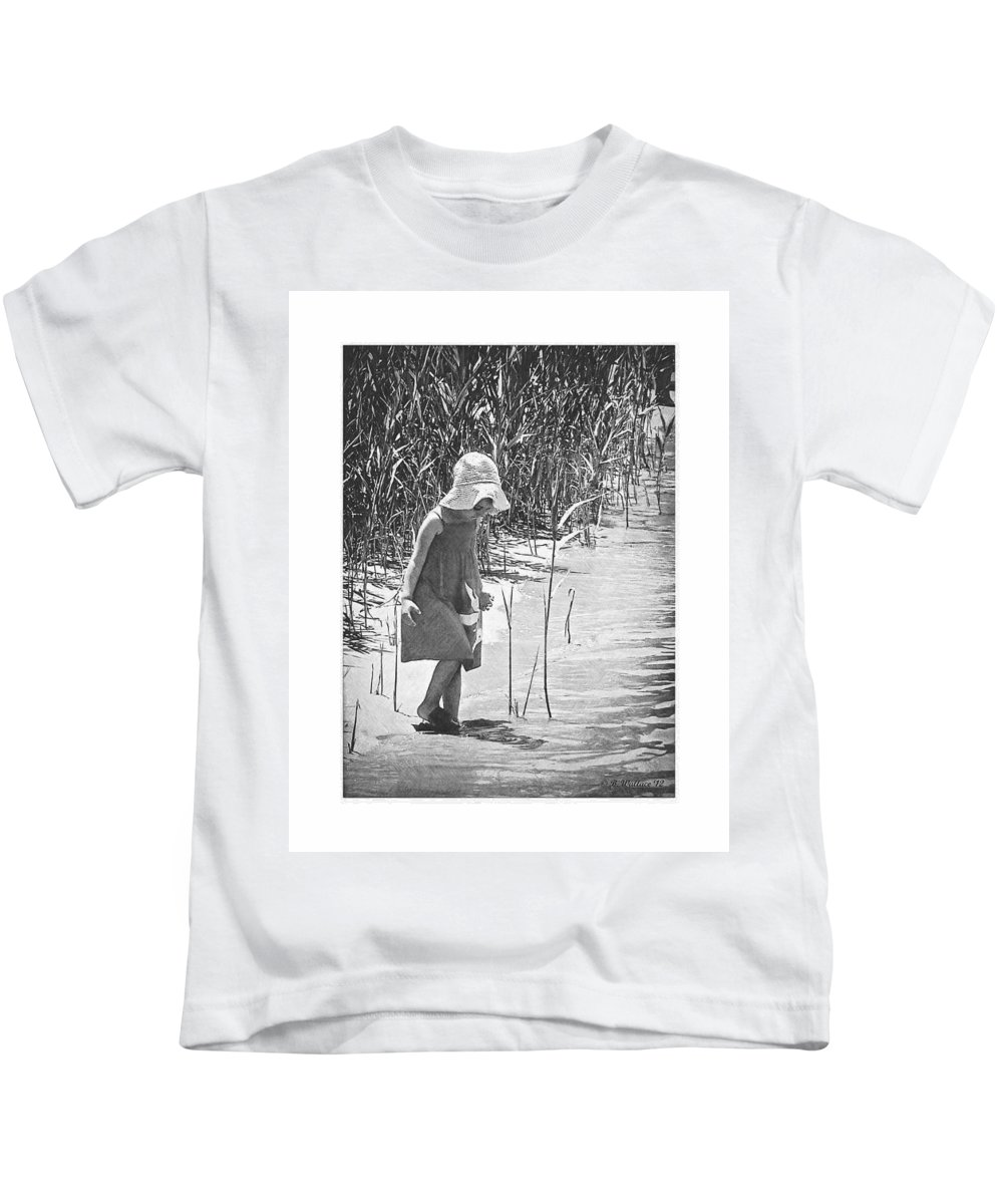 2d Kids T-Shirt featuring the photograph Khloe - Grayscale by Brian Wallace