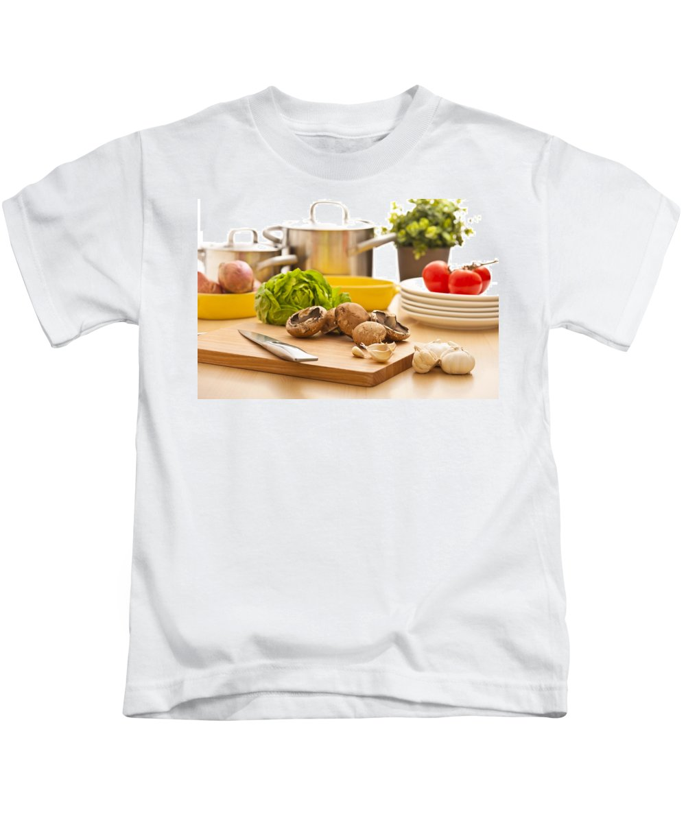 Cooking Pot Kids T-Shirt featuring the photograph Kitchen Still Life Preparation For Cooking by U Schade