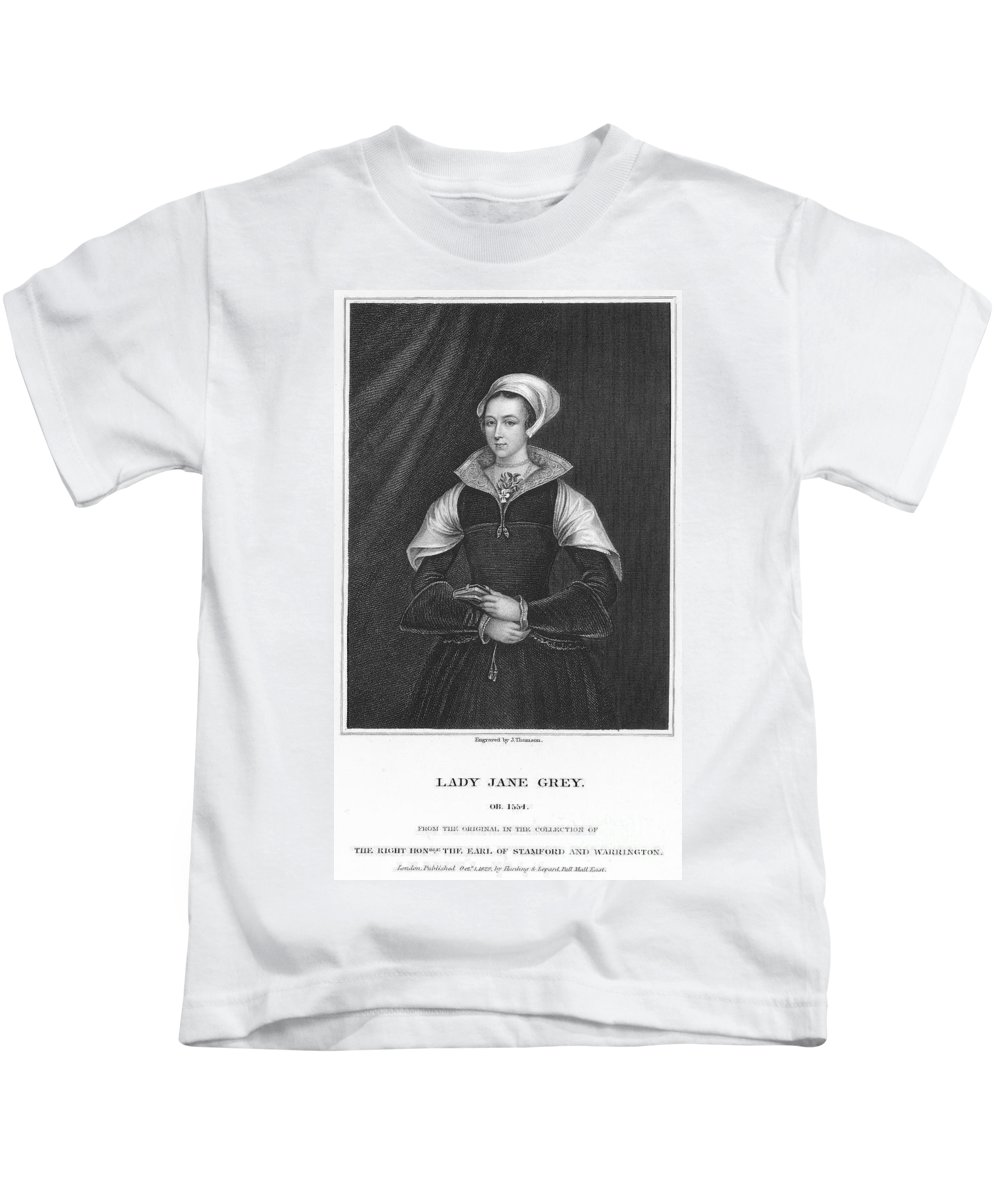 1550s Kids T-Shirt featuring the photograph Lady Jane Grey (1537-1554) by Granger