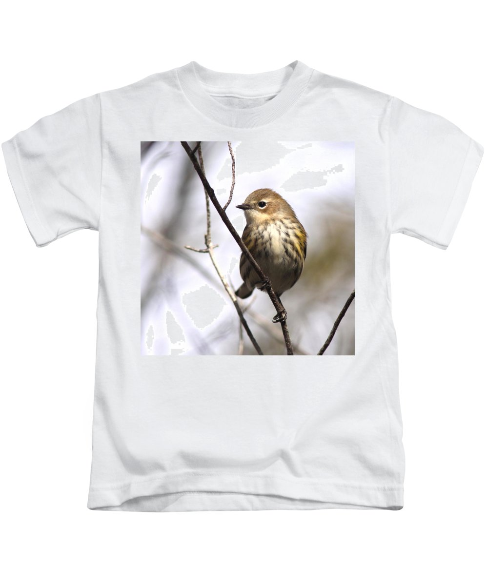 Yellow-rumped Warbler Kids T-Shirt featuring the photograph Little Speckled Bird by Travis Truelove
