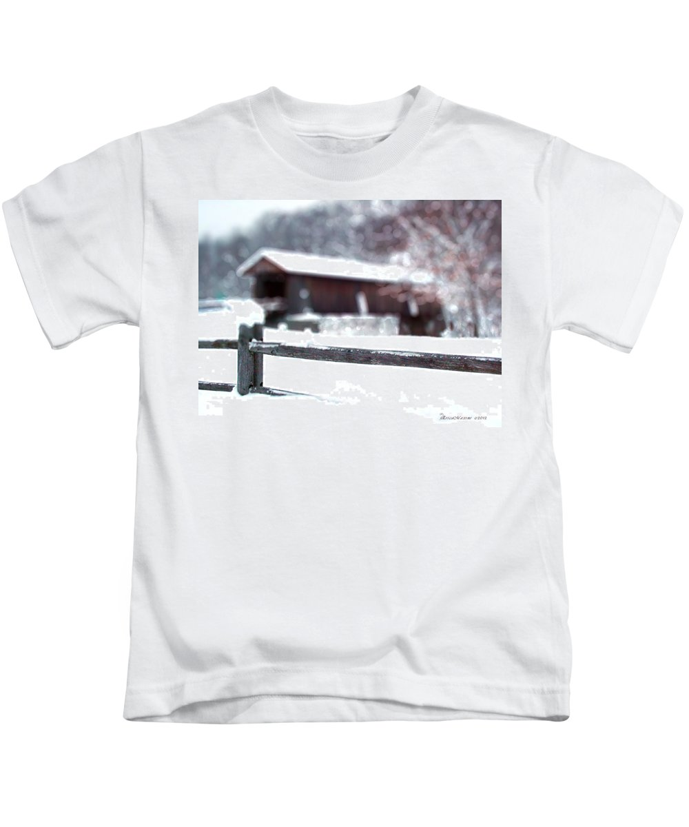 Bridge Kids T-Shirt featuring the photograph Livingston Manor Covered Bridge by Ericamaxine Price
