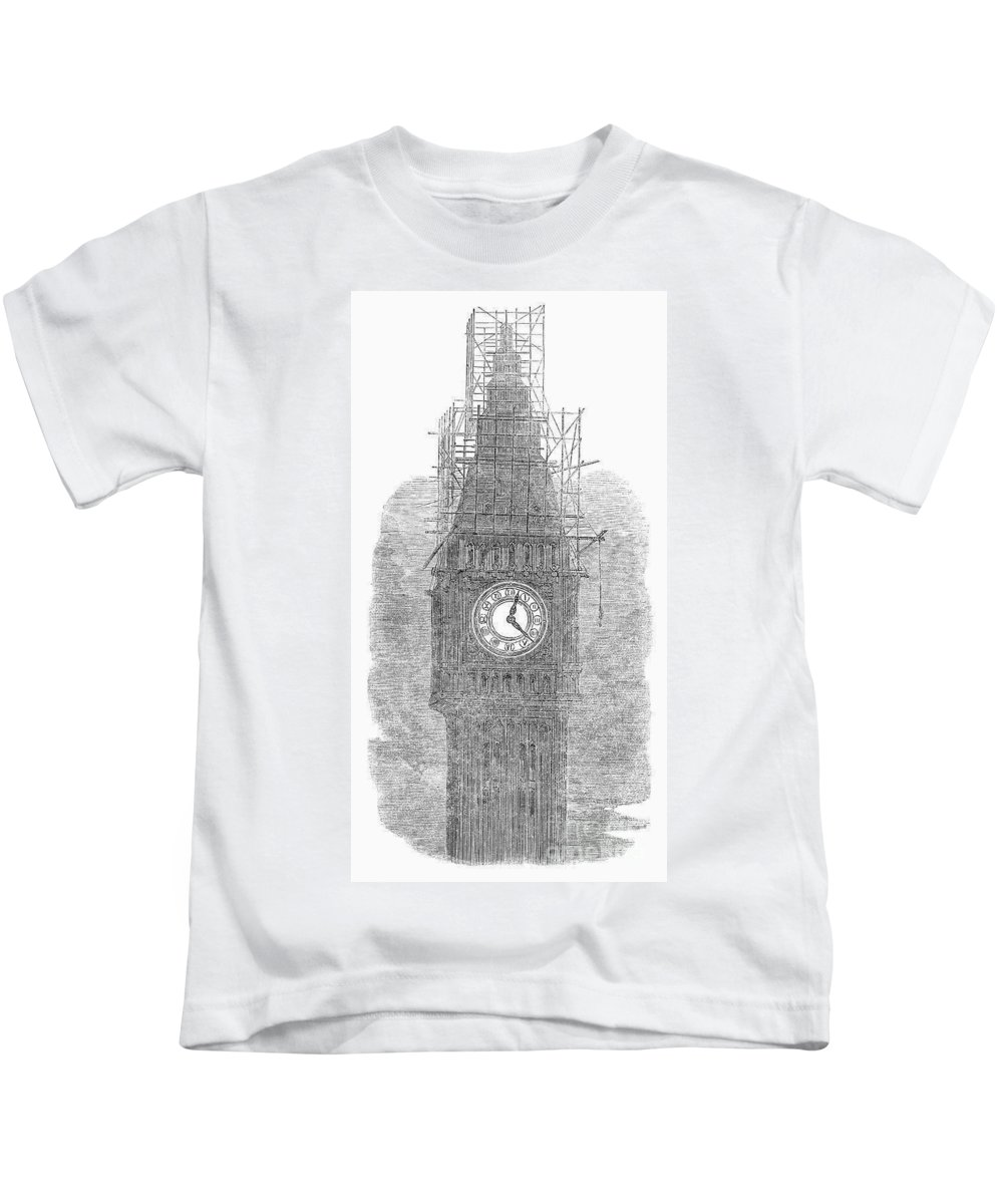 1856 Kids T-Shirt featuring the photograph London: Big Ben, 1856 by Granger