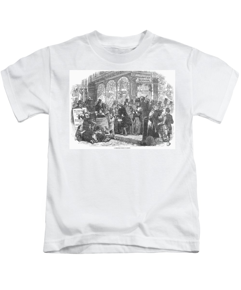1866 Kids T-Shirt featuring the photograph London: Christmas, 1866 by Granger