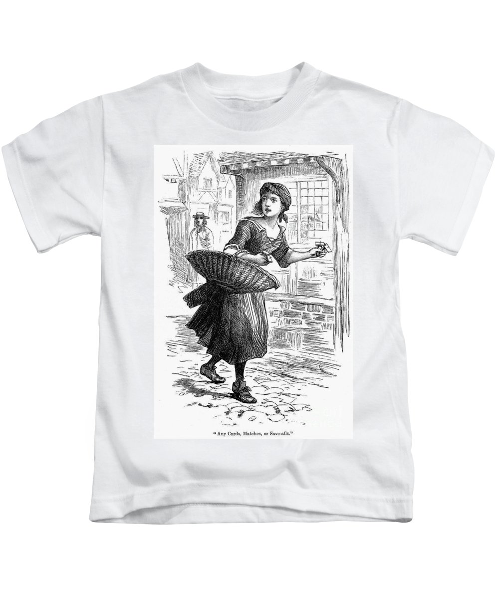 19th Century Kids T-Shirt featuring the photograph London: Match-girl by Granger