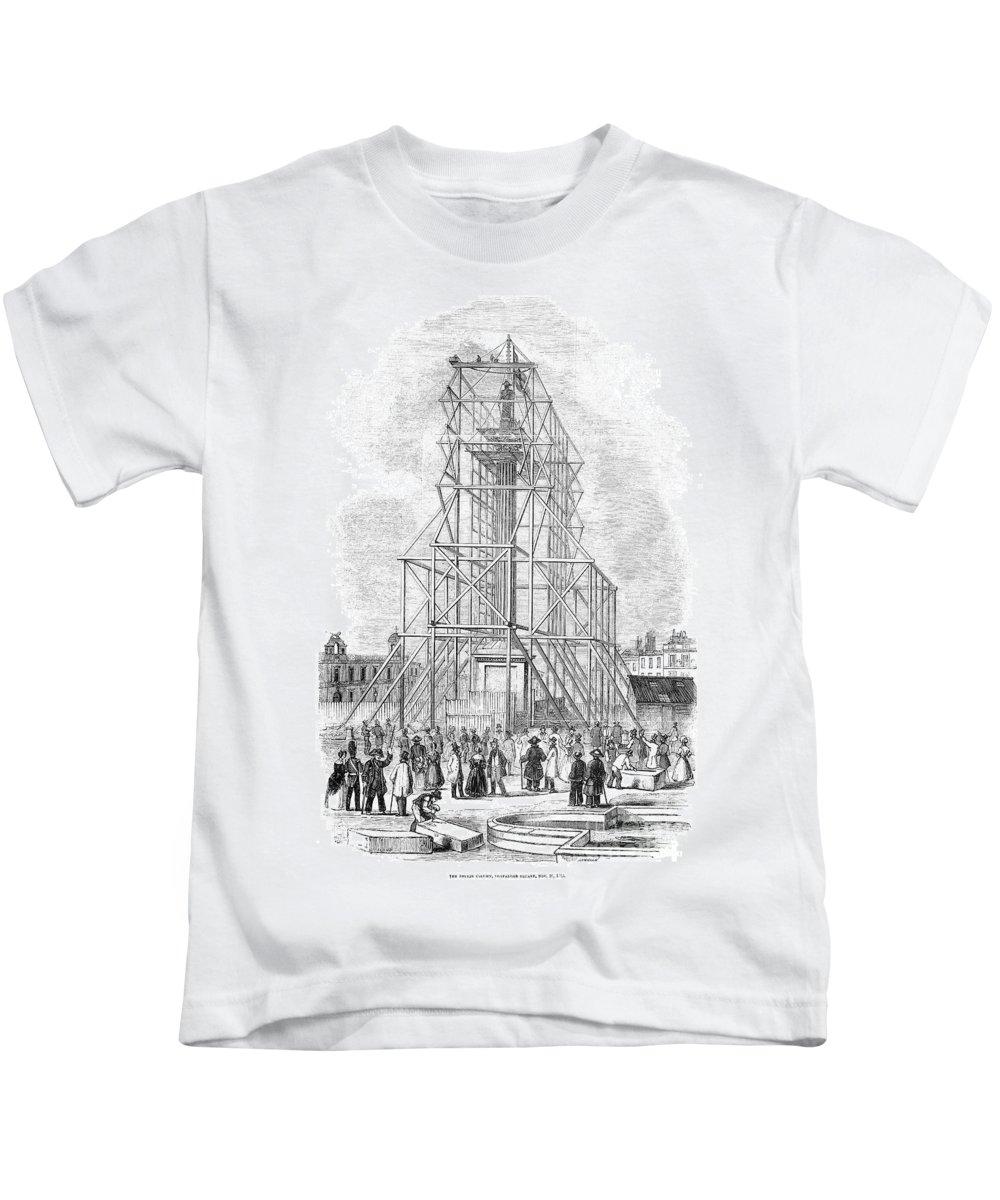 1843 Kids T-Shirt featuring the photograph London: Nelson Column, 1845 by Granger