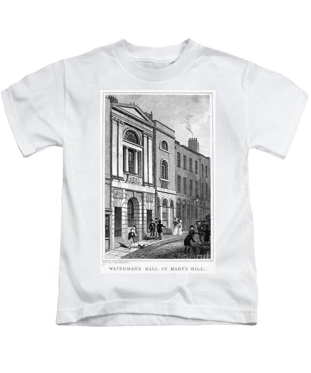 1830 Kids T-Shirt featuring the photograph London: Watermans Hall by Granger