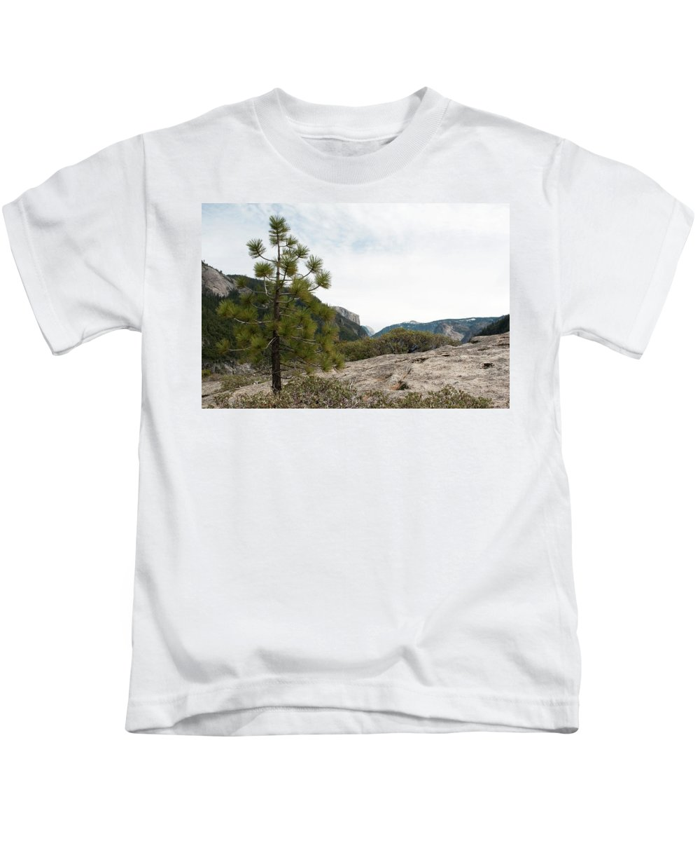 Yosemite National Park Kids T-Shirt featuring the photograph Lonely Pine by Lorraine Devon Wilke