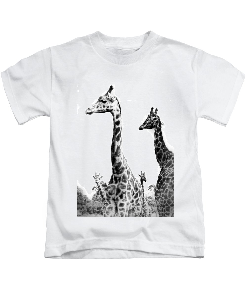 Giraffe Kids T-Shirt featuring the photograph Long And The Short by Kathryn Potempski
