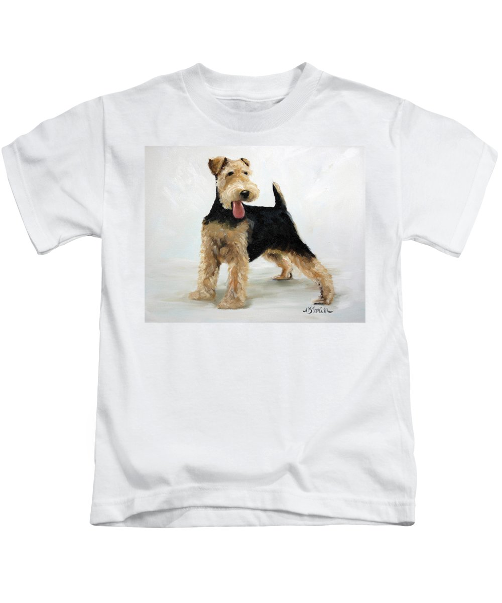 Art Kids T-Shirt featuring the painting Looking For Fun by Mary Sparrow