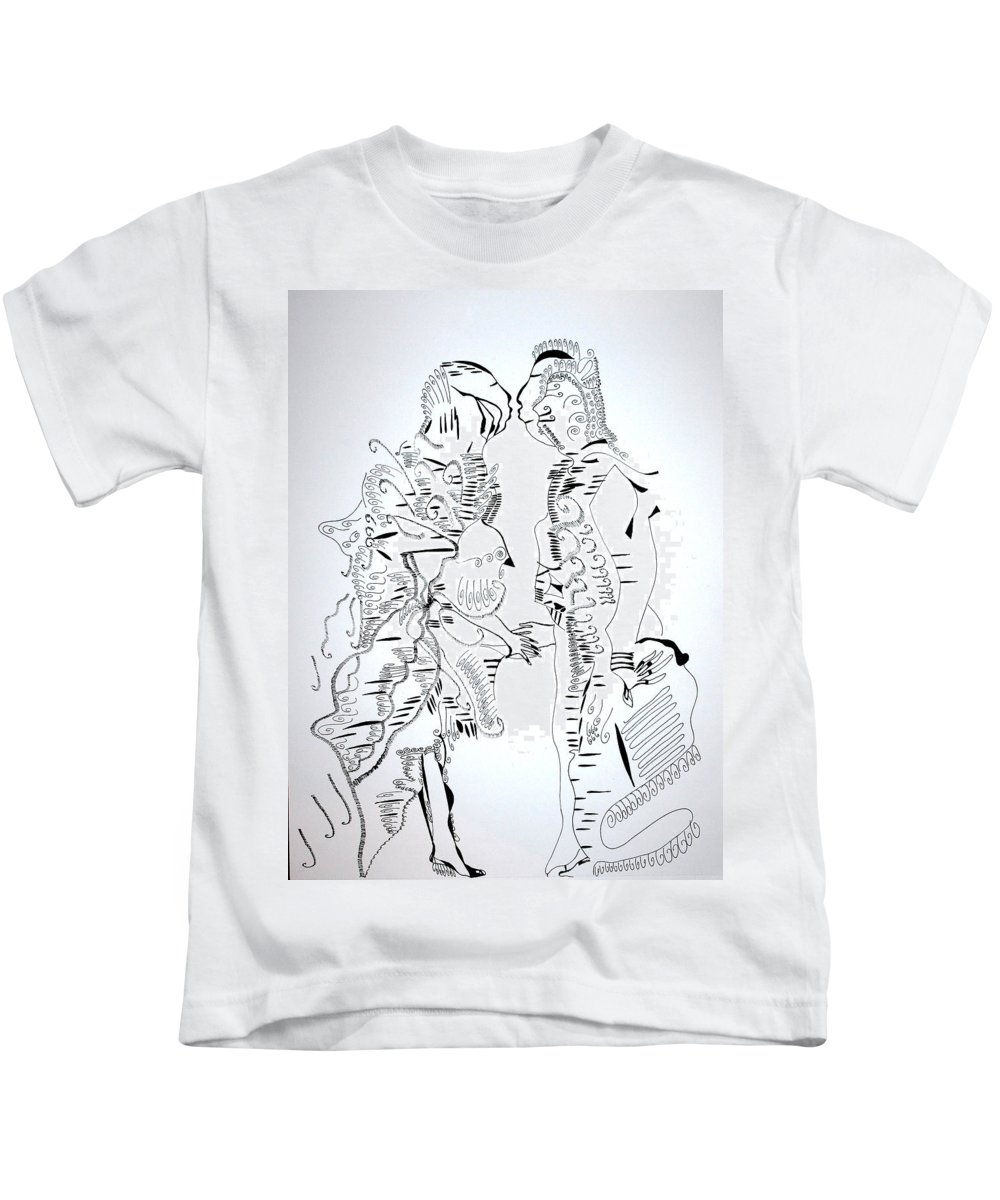 Jesus Kids T-Shirt featuring the drawing Loves Centrepiece by Gloria Ssali