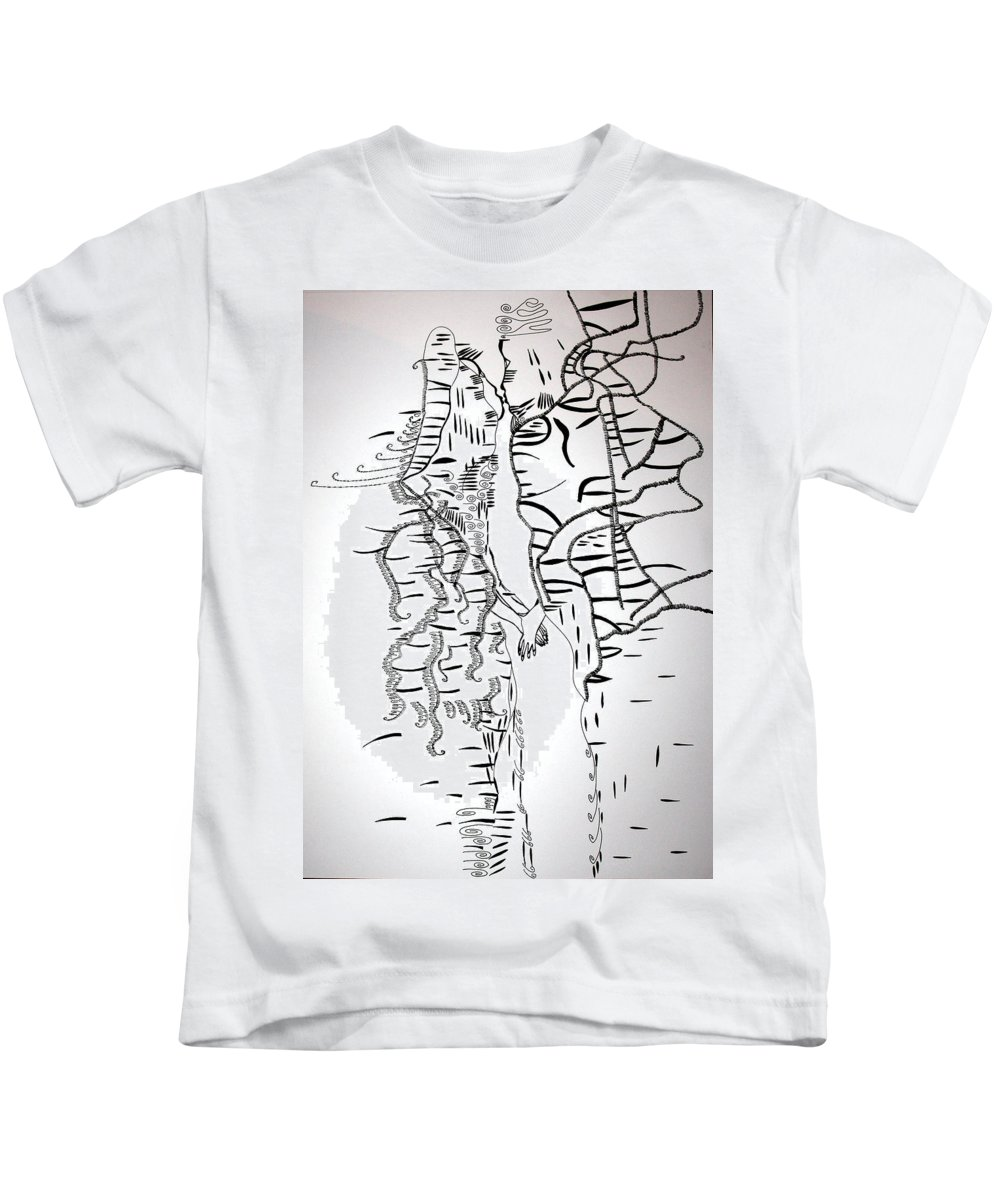 Jesus Kids T-Shirt featuring the drawing Loves Encounter by Gloria Ssali