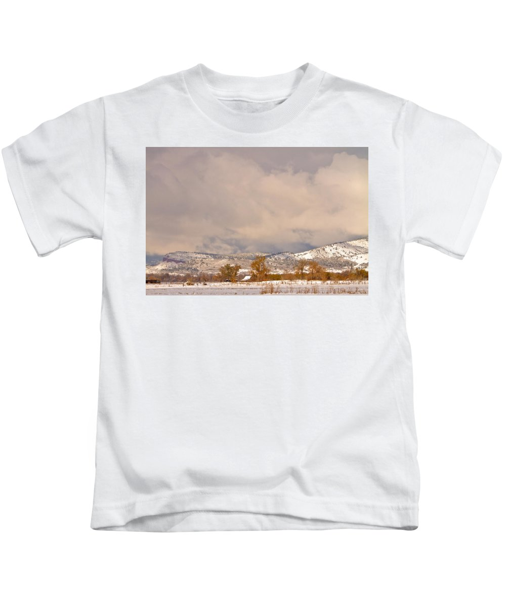 'low Clouds' Kids T-Shirt featuring the Low Winter Storm Clouds Colorado Rocky Mountain Foothills 5 by James BO Insogna