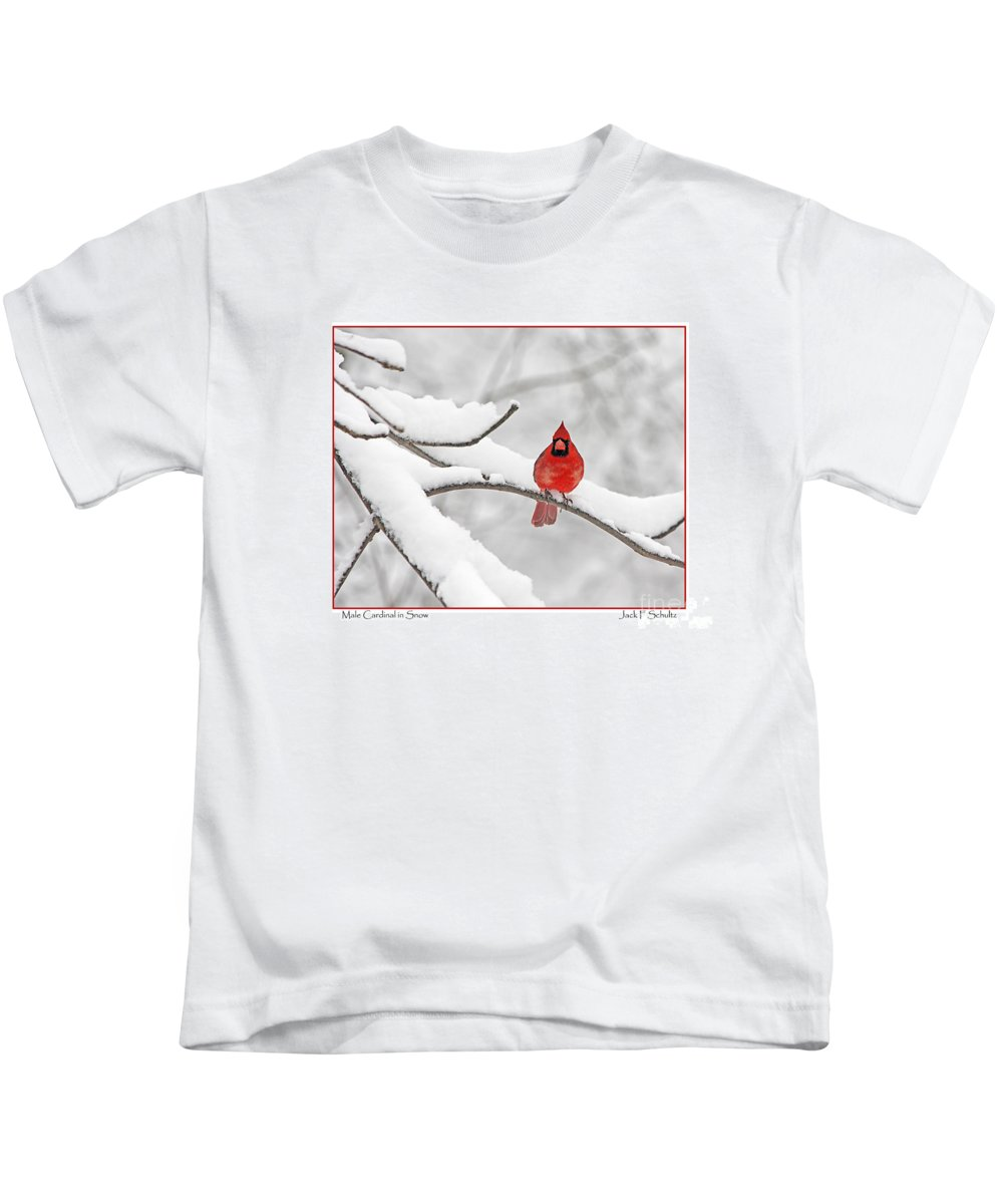 Cardinal Kids T-Shirt featuring the photograph Male Cardinal In Snow by Jack Schultz