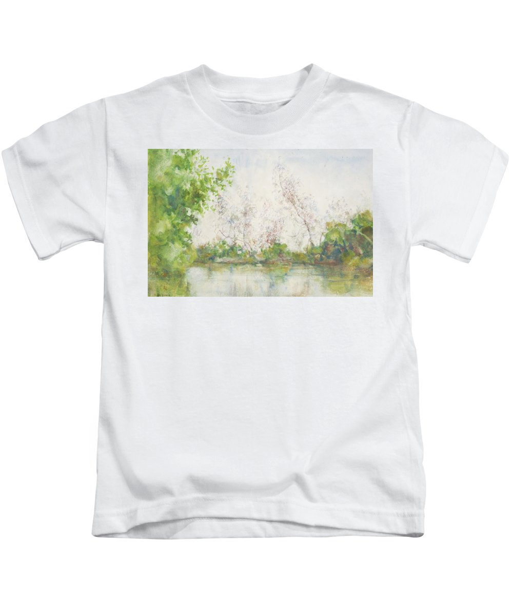 Mangroves; Pond; Reflection; Tropical; Subtropical; Remote; Peaceful; Tranquil; Calm; Newlyn School; Mangrove Swamp Kids T-Shirt featuring the painting Mangrove Swamp by Henry Scott Tuke