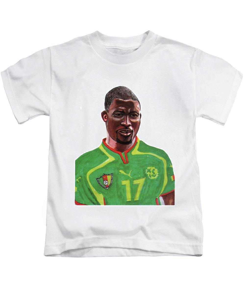 Sports Kids T-Shirt featuring the painting Marc Vivien Foe by Emmanuel Baliyanga