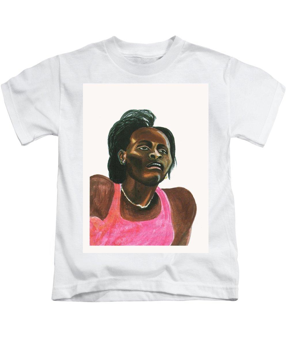 Portraits Kids T-Shirt featuring the painting Maria Mutola by Emmanuel Baliyanga