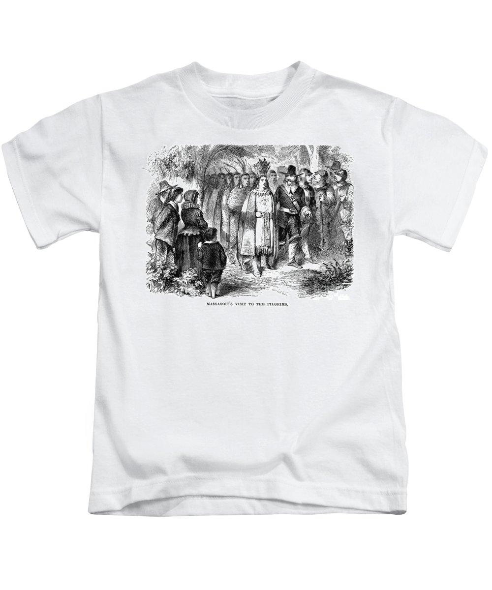 17th Century Kids T-Shirt featuring the photograph Massasoit (d. 1661) by Granger