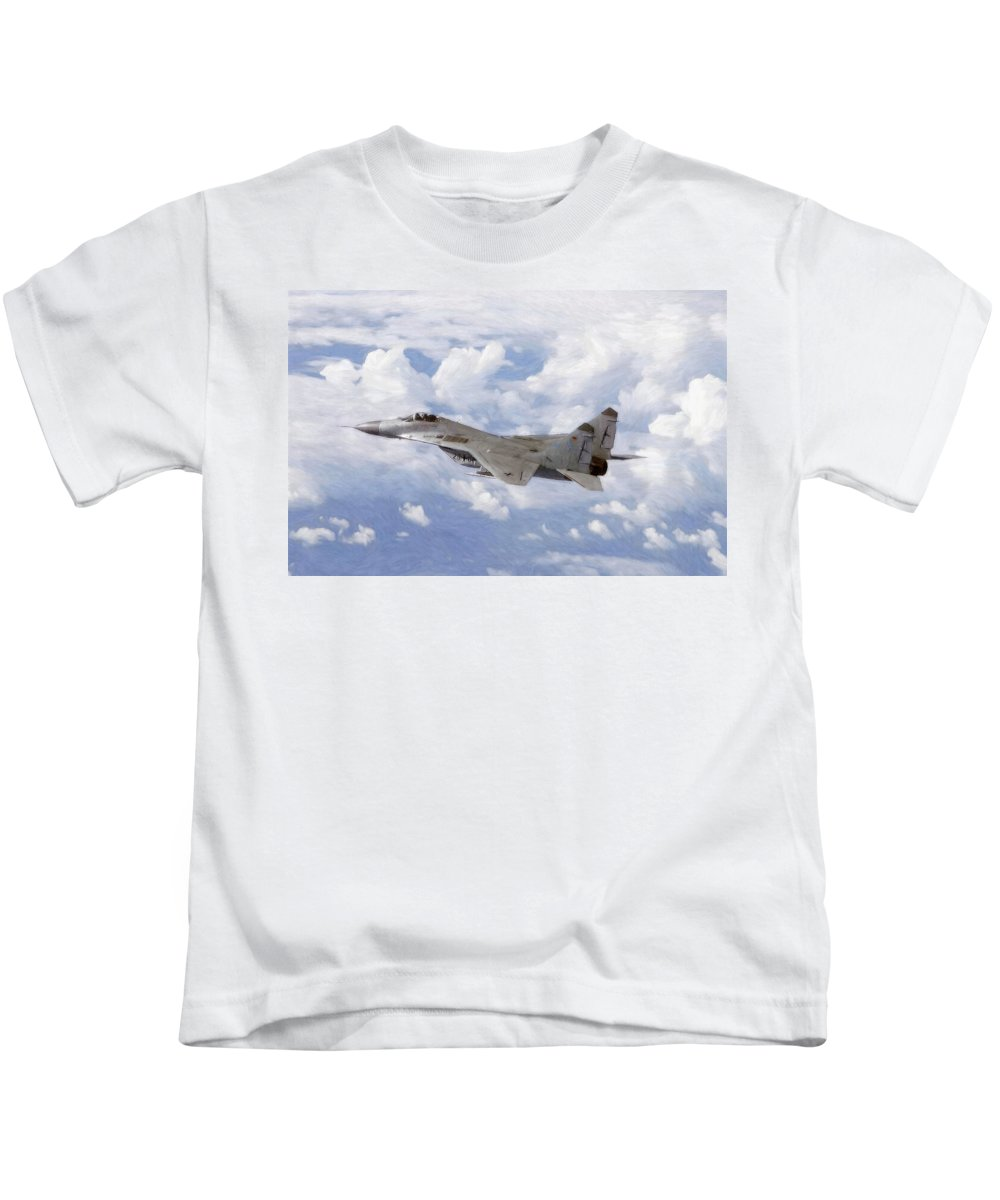Mig Mig29 29 Plane Fighter Air Combat Military Pastel Painting Cloud Clouds Air Airplane War Cold Blue Sky Kids T-Shirt featuring the pastel Mig29 Pastel by Steve K