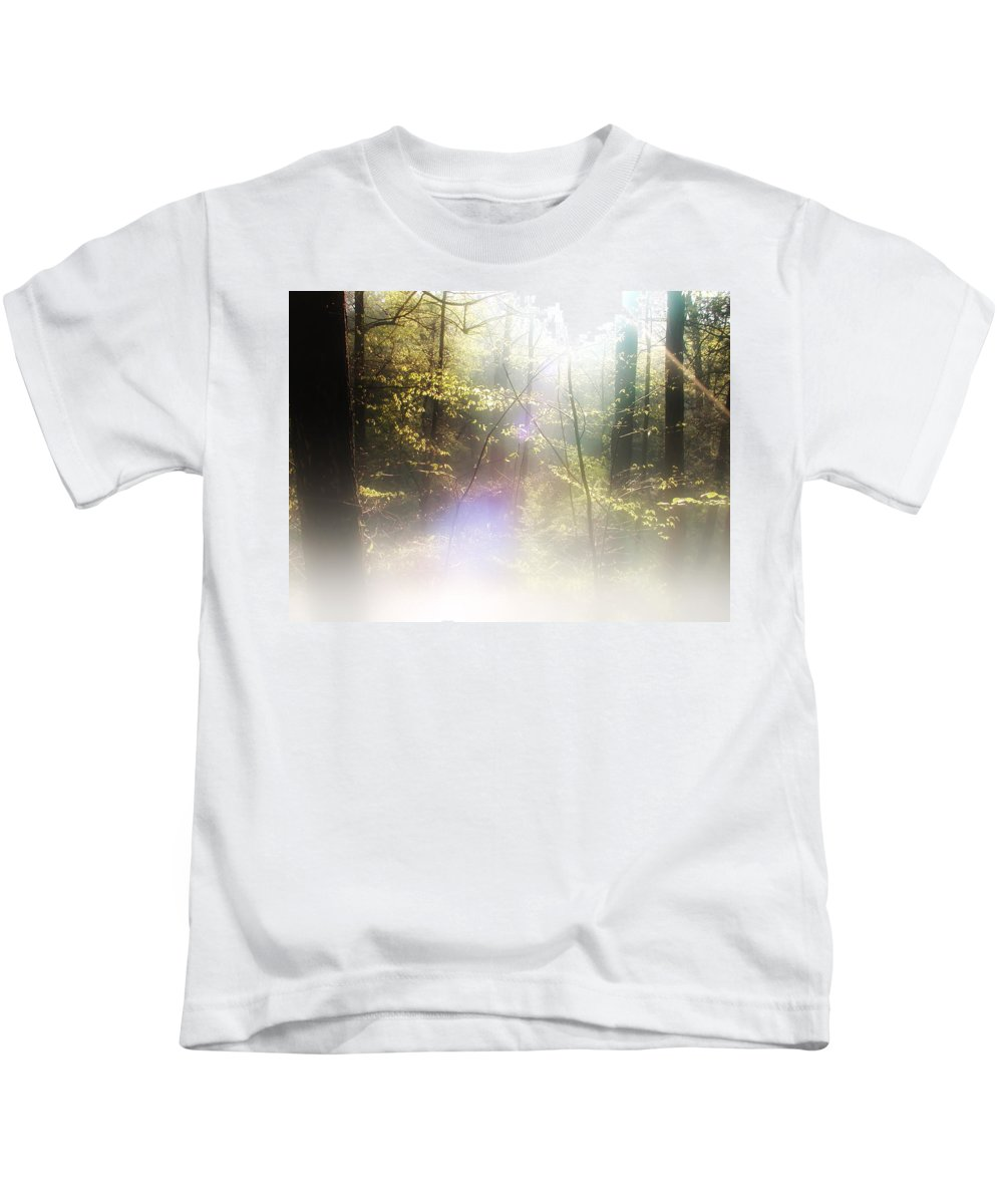 Mist Kids T-Shirt featuring the photograph Misty Woods by Bill Cannon