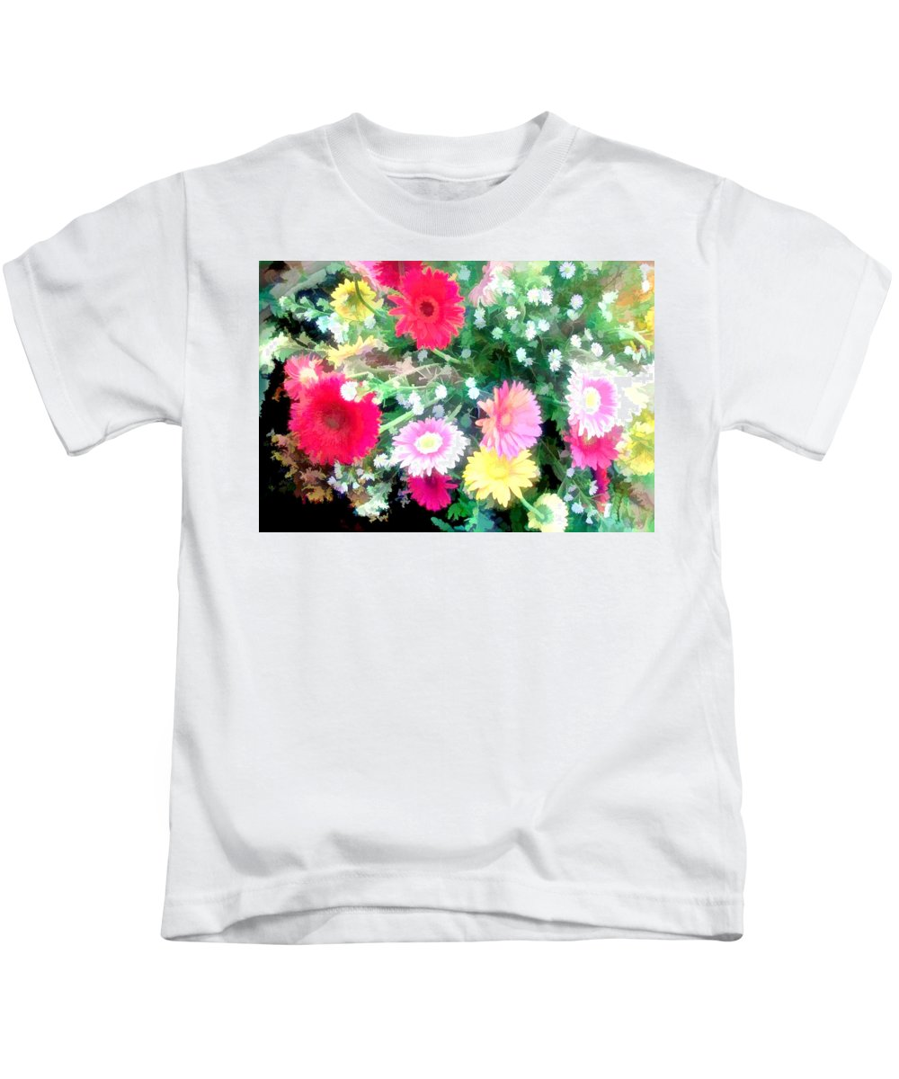 Aster Kids T-Shirt featuring the painting Mixed Asters by Elaine Plesser