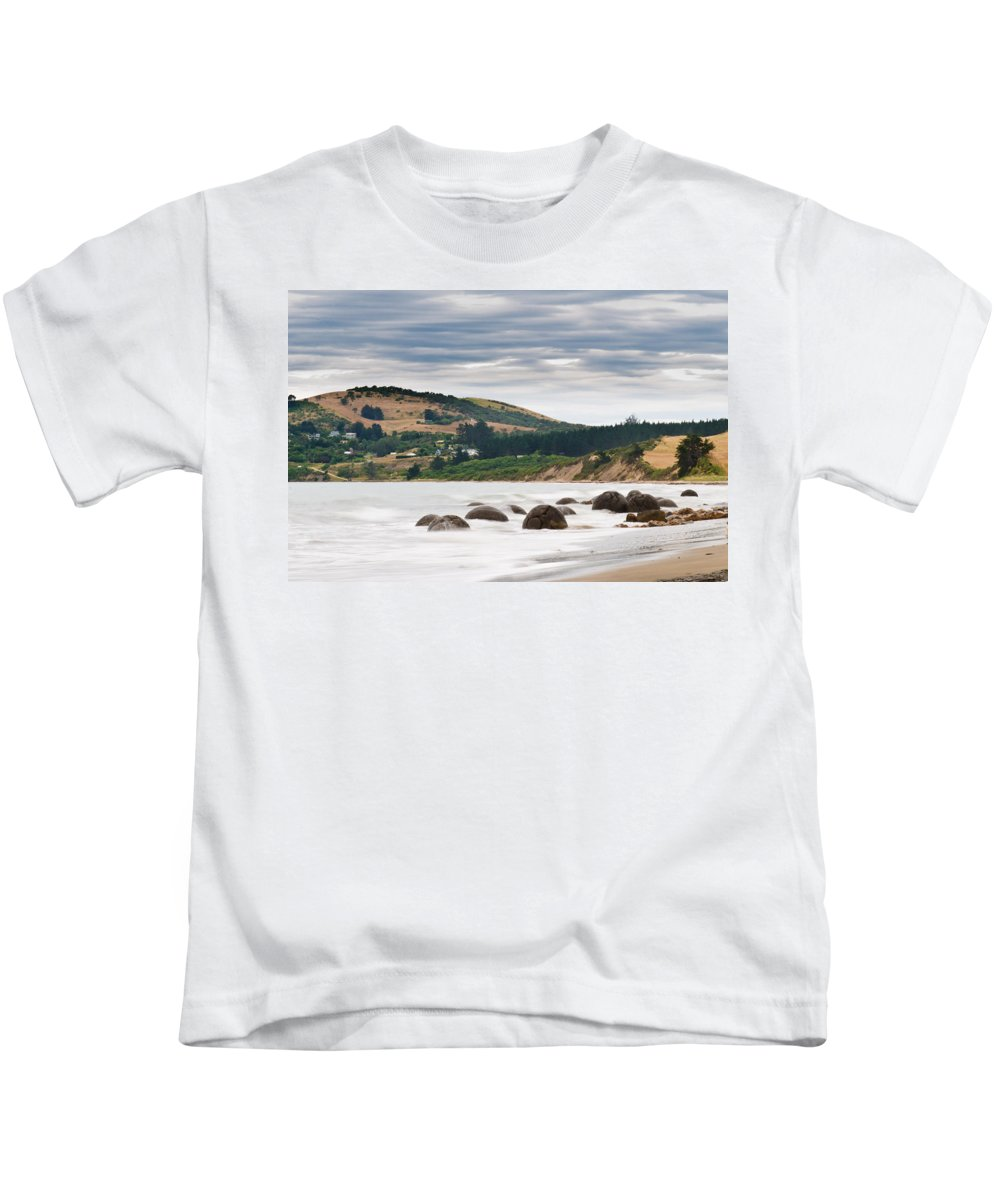 Balls Kids T-Shirt featuring the photograph Moeraki Boulder East Coast Of South New Zealand  by U Schade