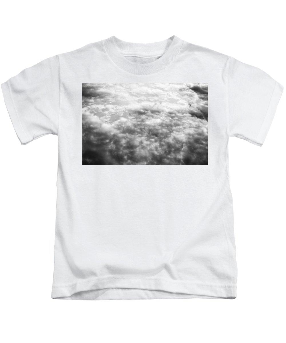 Clouds Kids T-Shirt featuring the photograph Monochrome Clouds by David Pyatt