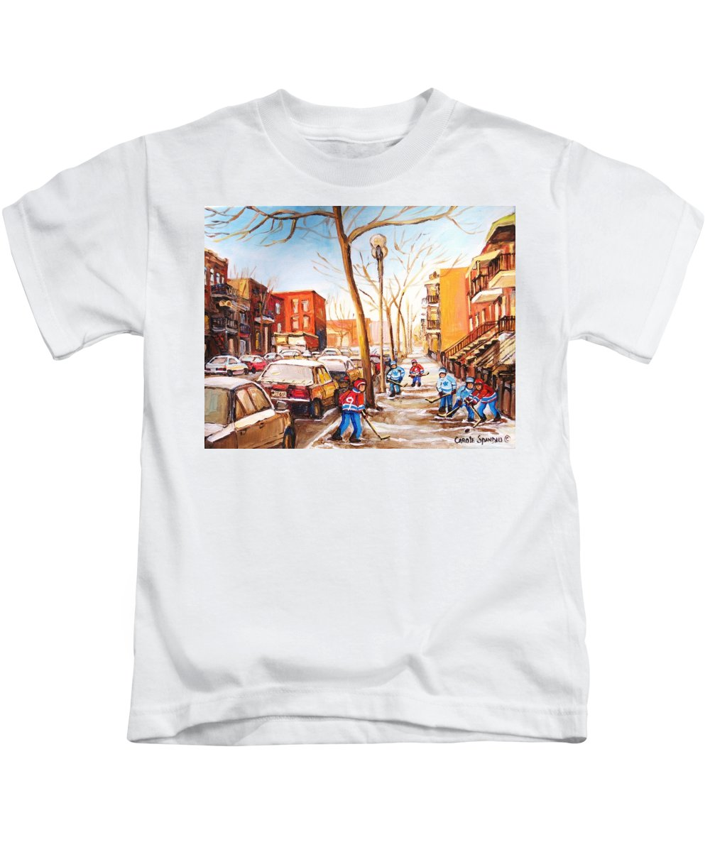 Montreal Street Scene With Boys Playing Hockey Kids T-Shirt featuring the painting Montreal Street With Six Boys Playing Hockey by Carole Spandau