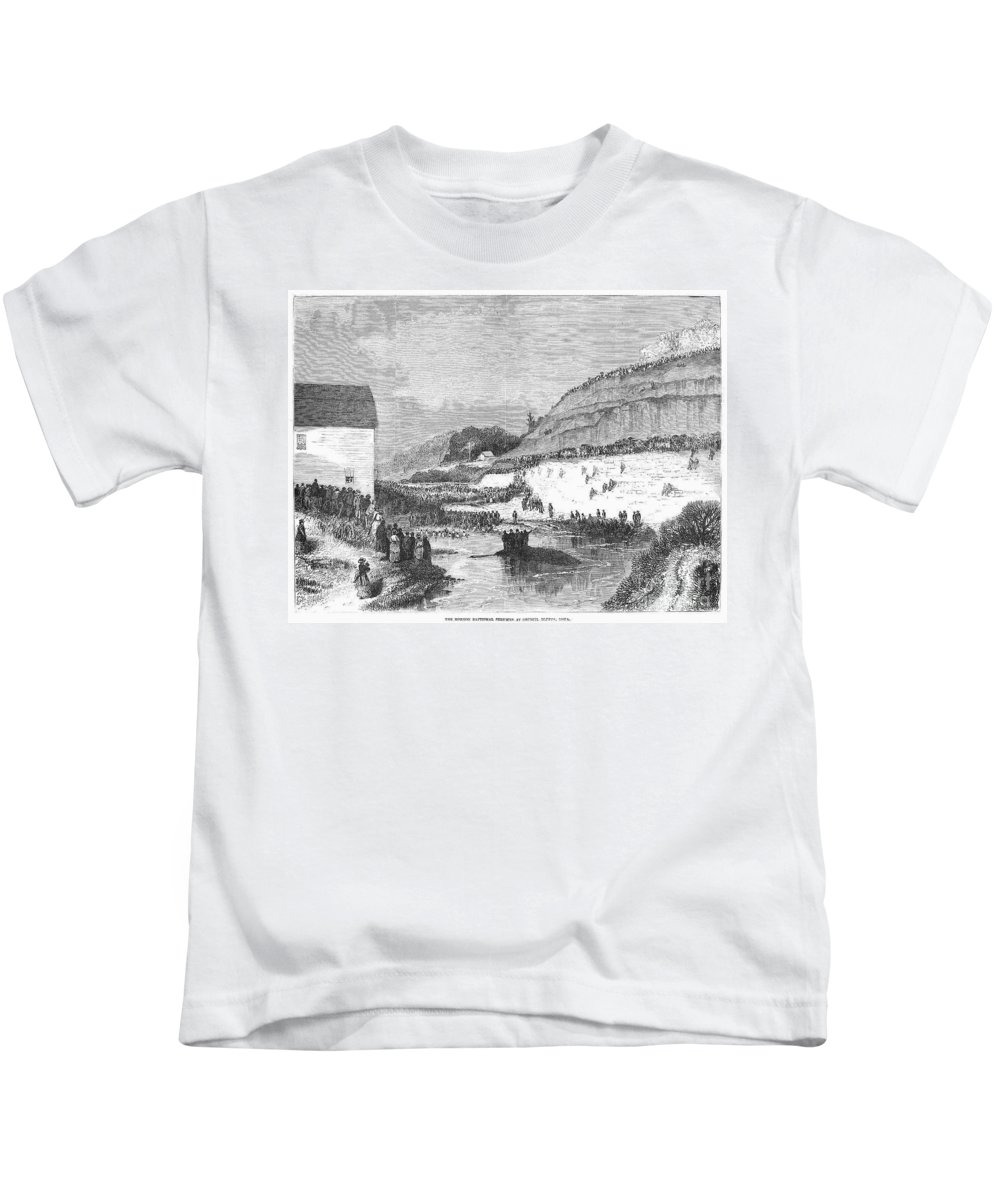 1873 Kids T-Shirt featuring the photograph Mormon Baptismal, 1873 by Granger