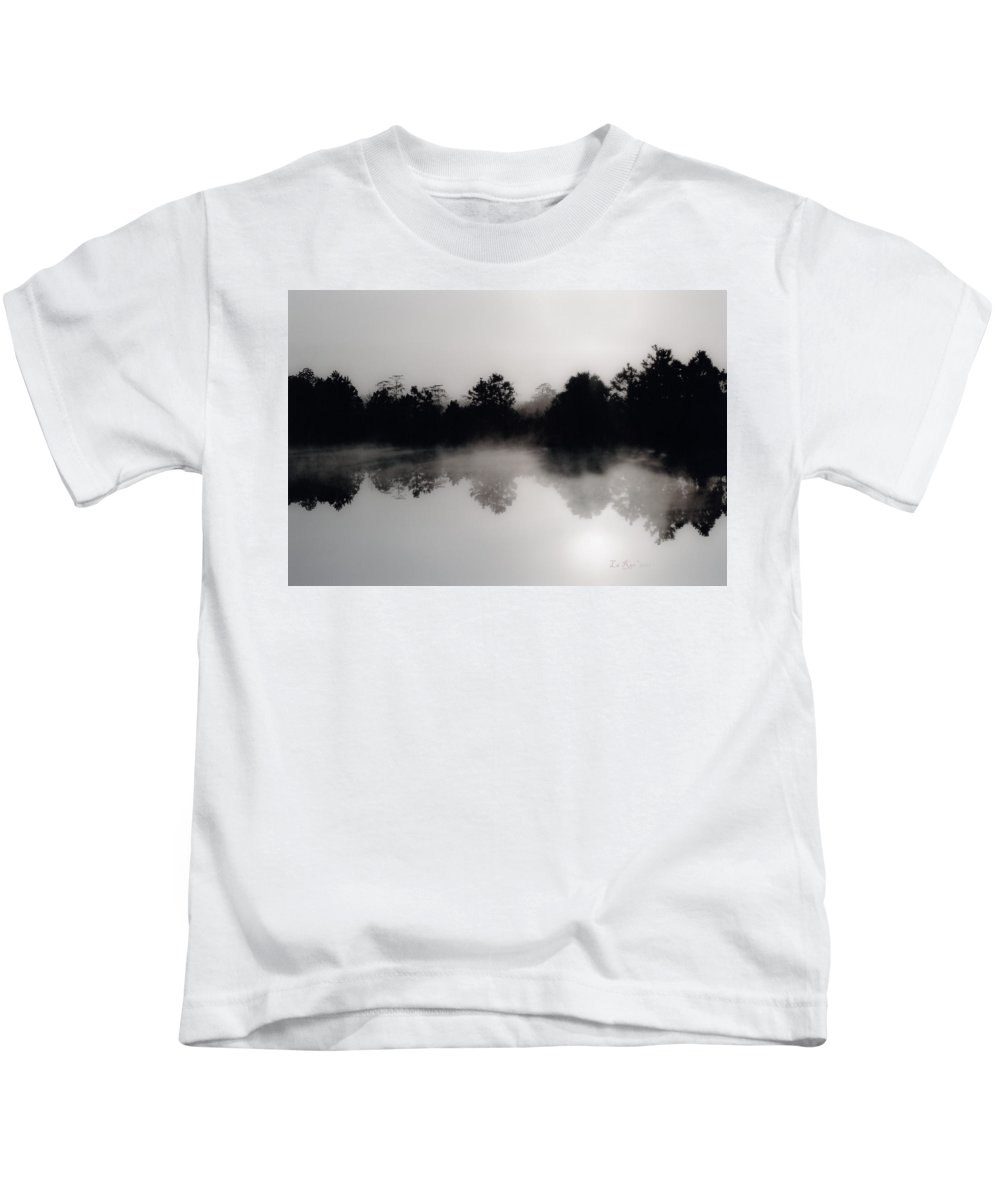 Landscapes Kids T-Shirt featuring the photograph Morning Mist Reflection by La Rae Roberts