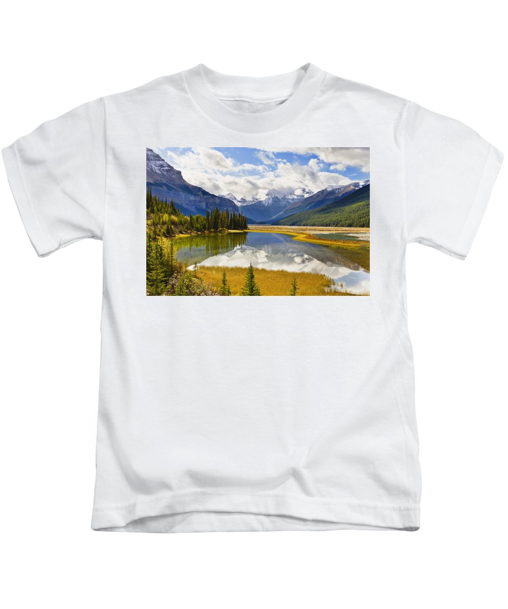 Beauty Creek Kids T-Shirt featuring the photograph Mount Kitchener Reflected In Pond by Yves Marcoux