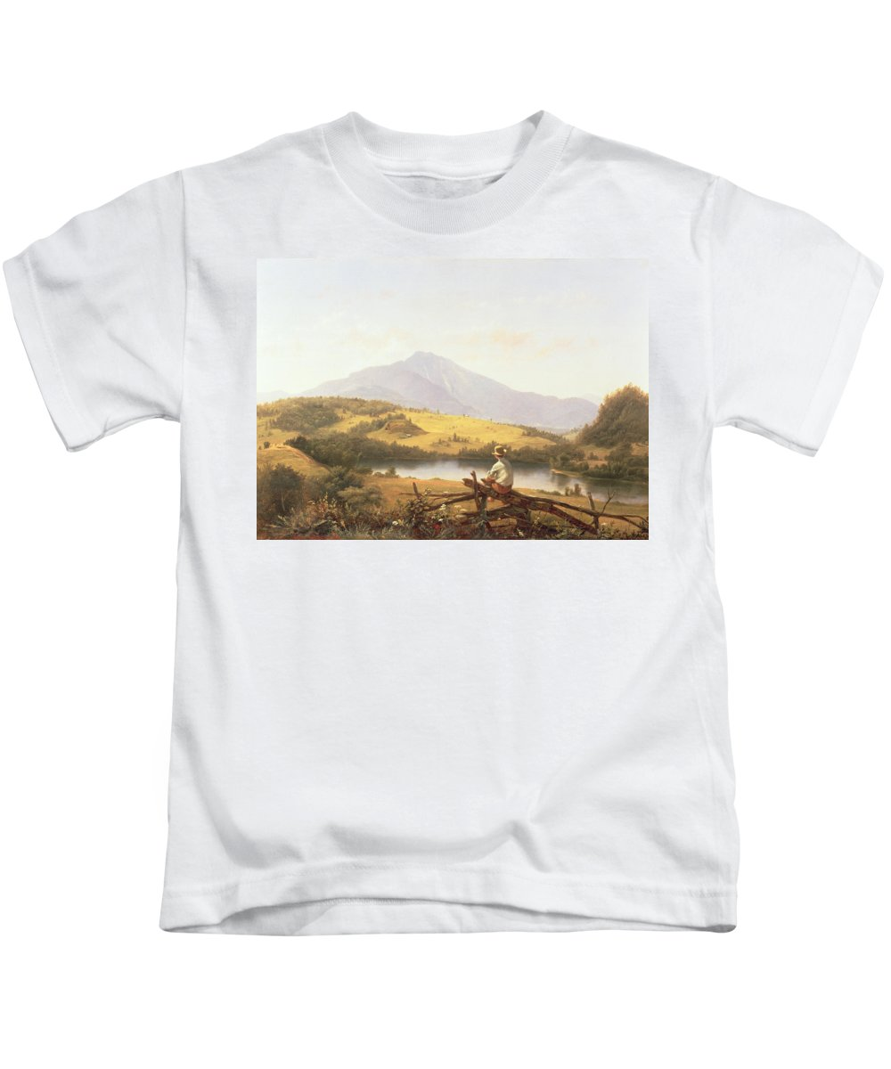 Mount Mansfield Kids T-Shirt featuring the painting Mount Mansfield by Jerome Thompson