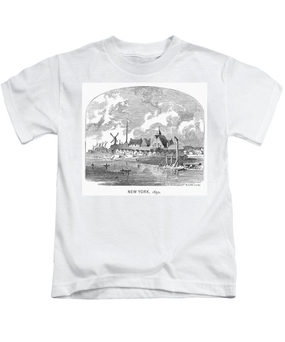 1650 Kids T-Shirt featuring the photograph New Amsterdam, 1650 by Granger