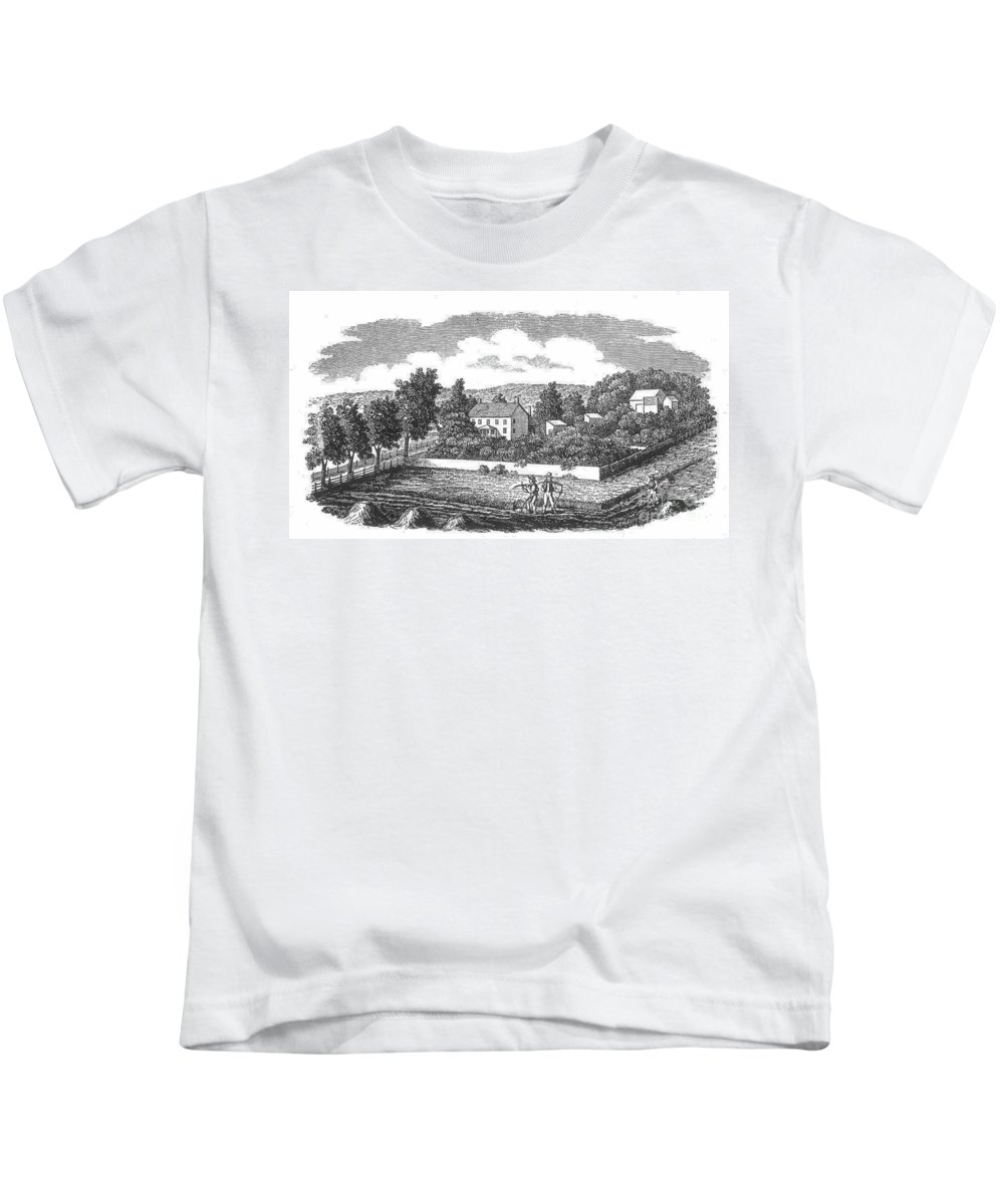1810 Kids T-Shirt featuring the photograph New Jersey Farm, C1810 by Granger