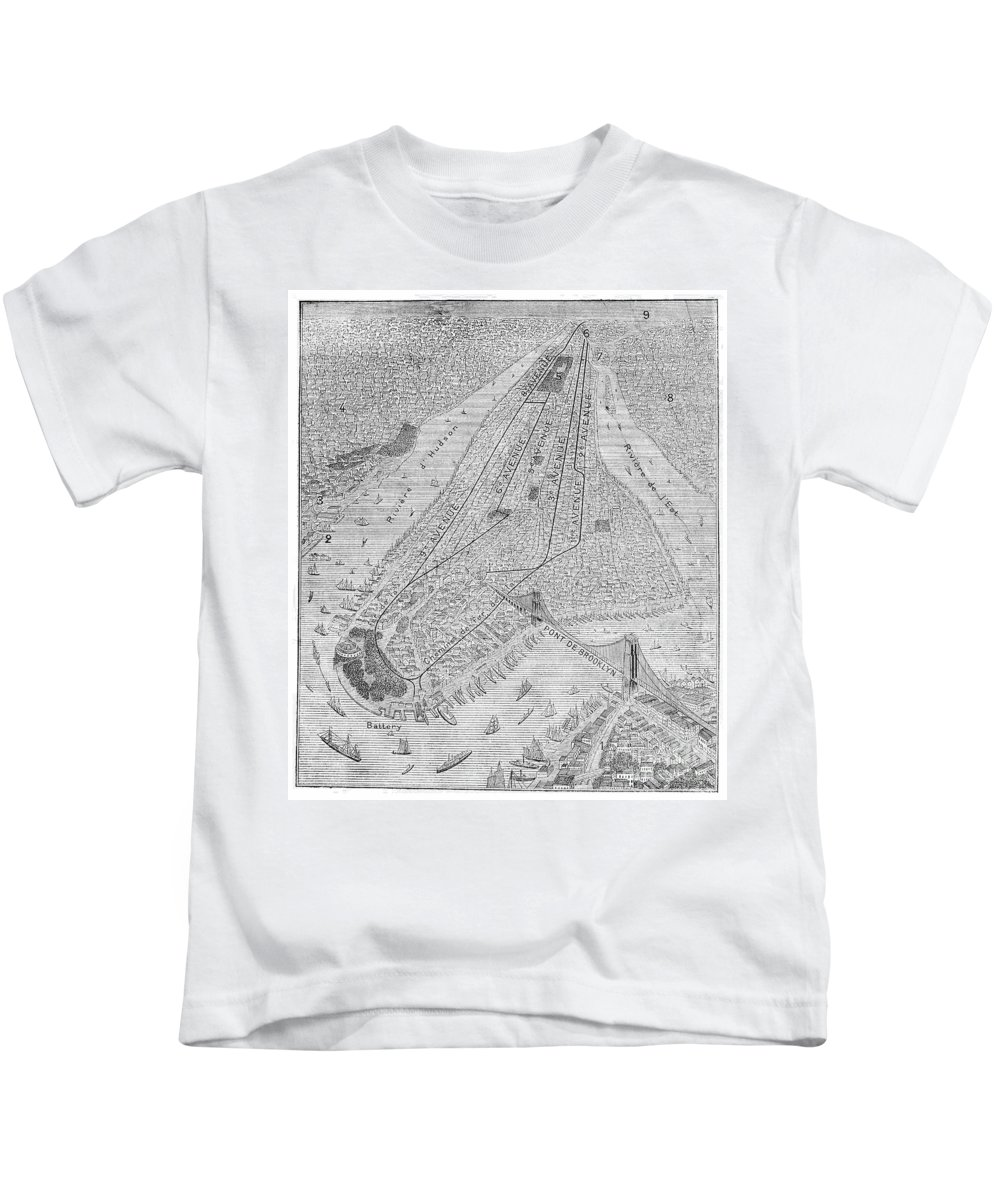 1878 Kids T-Shirt featuring the photograph New York: El Train, C1878 by Granger