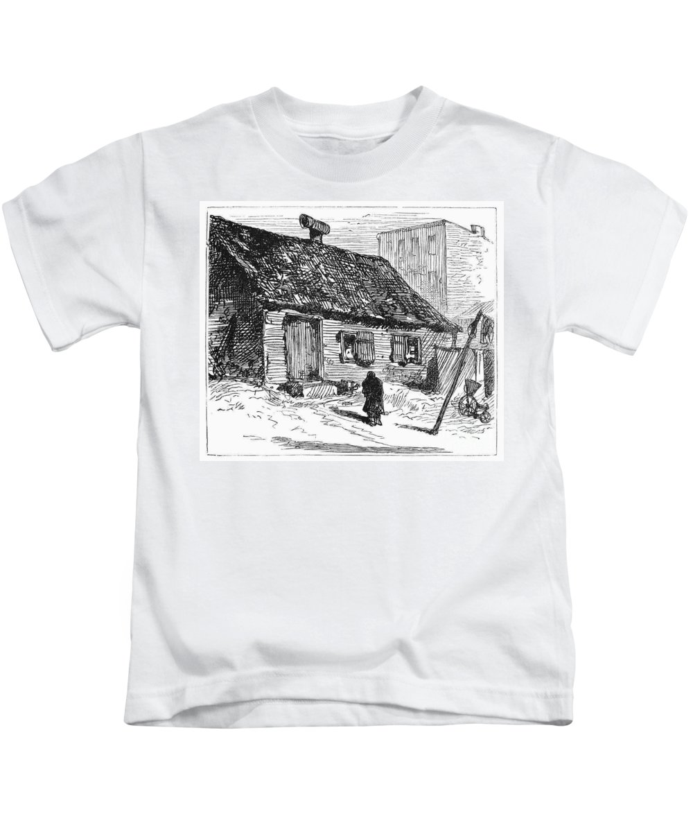 1875 Kids T-Shirt featuring the photograph New York: Shanty, 1875 by Granger
