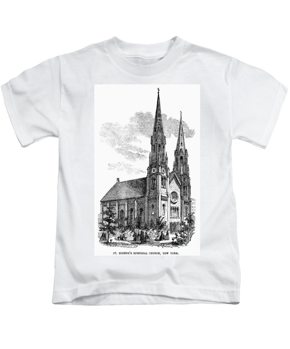 1857 Kids T-Shirt featuring the photograph New York: St. Georges by Granger